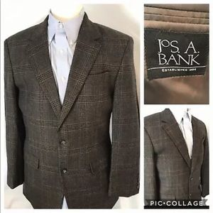Jos A Bank 40L Glen Plaid Blazer Sport Coat Wool